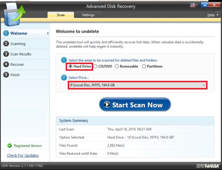 Systweak Advanced Disk Recovery-key